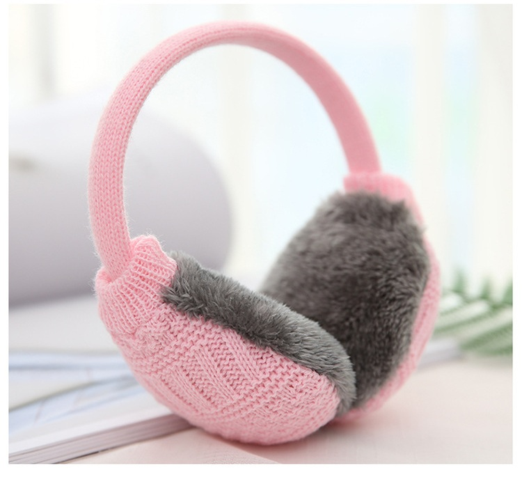 2018 New Casual Fashion Simple Atmosphere Exquisite Unisex Knitted Wool Warm Earmuffs Color Pink White Blue Gray