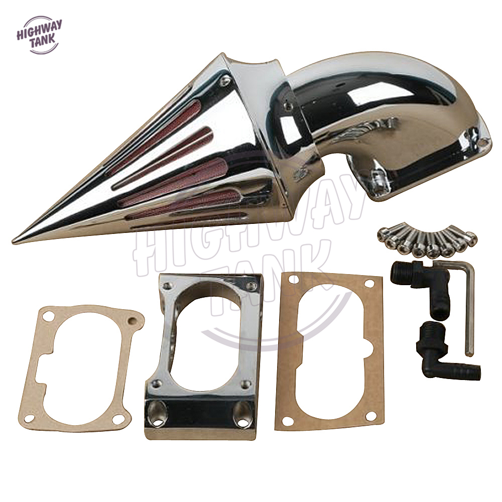Фото Chrome Motorcycle Spike Air Cleaner Kit Intake Filter case for Kawasaki Vulcan VN 2000 VN2000 2004 2005 2006 2007 2008 2009 2010
