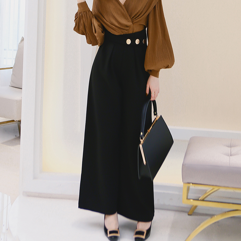 [MENKAY] 2018 Spring New Pattern Fashion Sash High Waist Korean Loose   Wide     Leg     Pants   Women Leisure Trousers Office Lady Tide