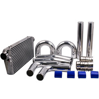 Top Intercooler 600x300x76mm + 76mm 3 turbo Intercooler pipe piping + Blue hose kit