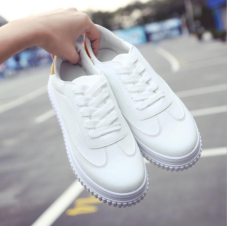 Hot !2017 New Women's Genuine Leather Platform Shoes White Breathable Lady casual Shoes lace up girls loafers flats mother shoes vik max white genuine leather hot sale figure skate shoes lace up ice figure skate shoes