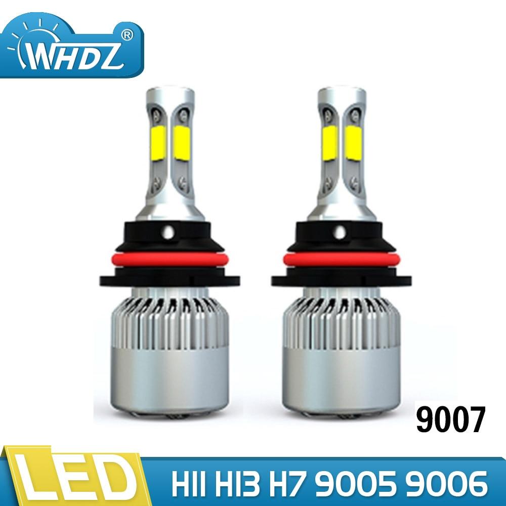 12V 6500K T2 9007 H4 Car LED Headlight Bulbs with COB LED Car Headlamp Hi-Lo Beam 72W 8000LM Automobile Light Conversion Kit