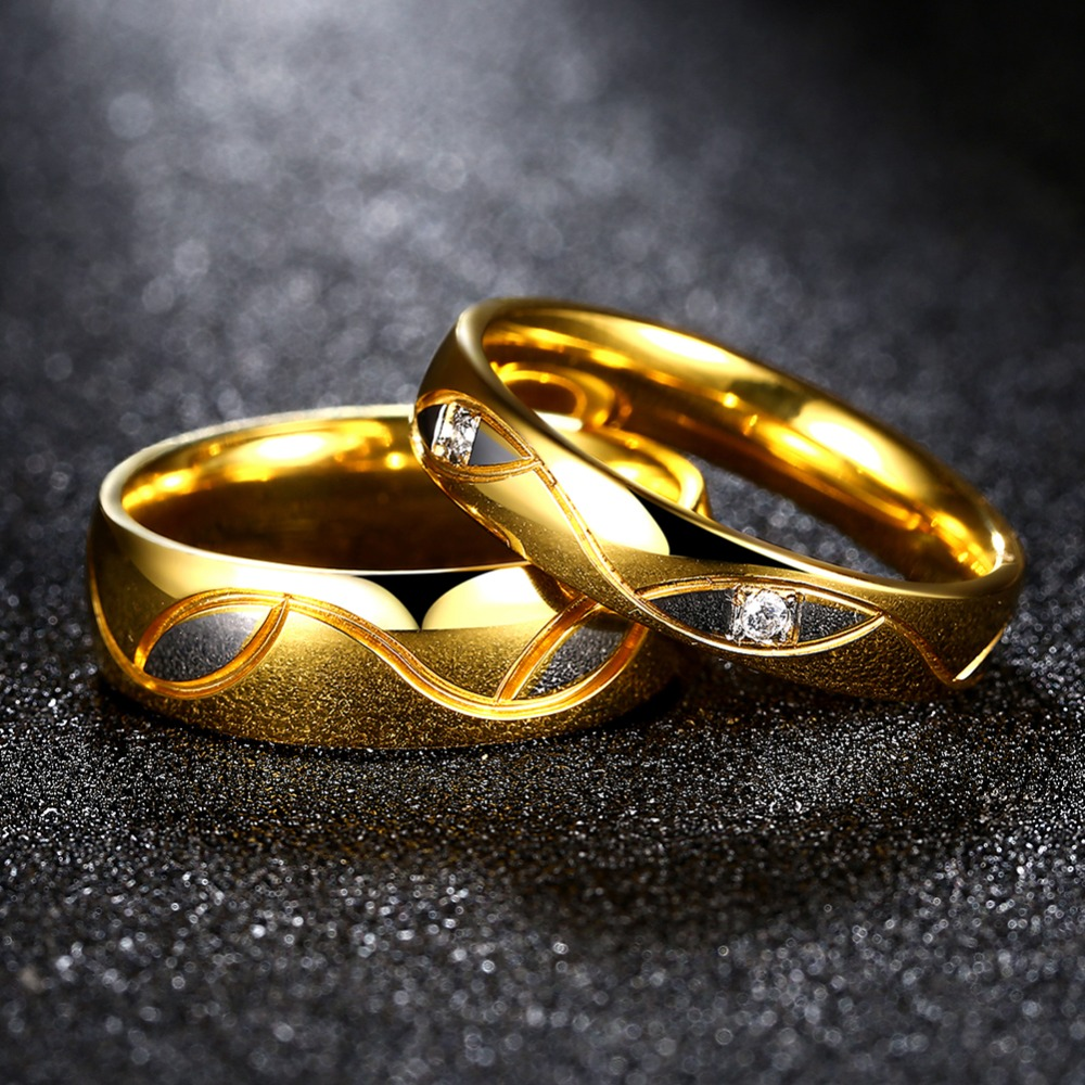 fashion wedding brand ring gold color pair rings set for men women designer couple rings with - Designer Wedding Rings
