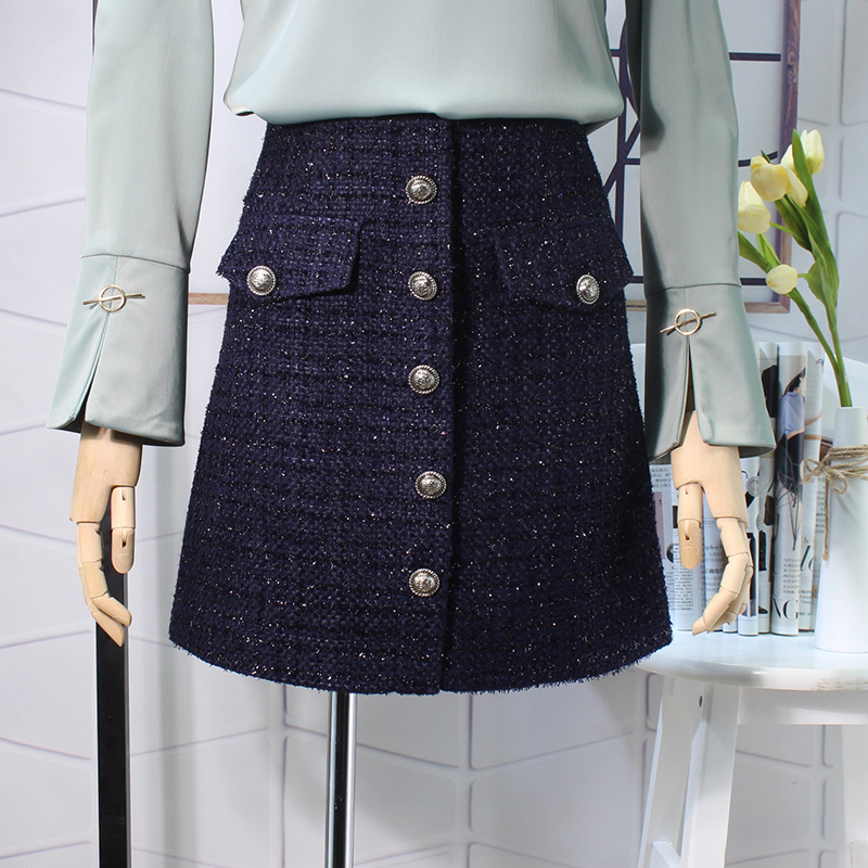 Flectit Fall Winter 2019 Plaid Wool Skirt Womens Royal Button Pocket Front Plus Size Glitter Tweed Mini Skirt Saia Feminina