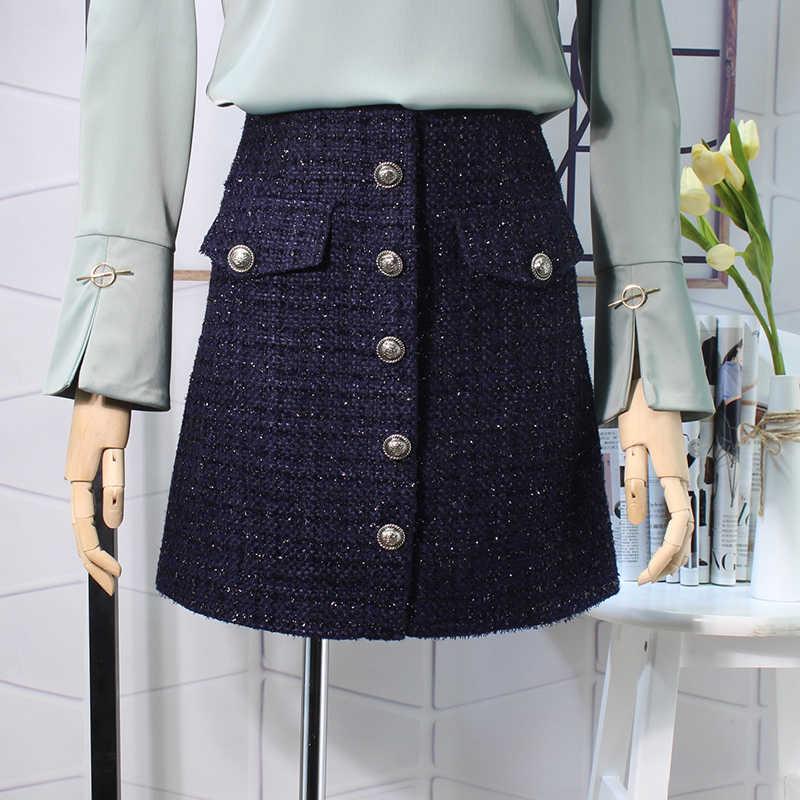 Flectit jesienno-zimowa chusta wełniana spódnica damska królewska kieszeń na guzik przód Plus rozmiar brokatowa tweedowa Mini spódniczka Saia Feminina