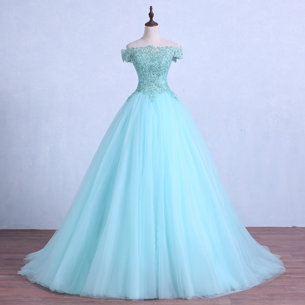 Lace Up Light Green Tulle Wedding Ball Gown Crystal