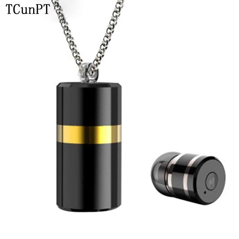 TCunPT M2 sans fil Bluetooth métal pendentif écouteur collier casque avec boîte de rangement pour IPad, IPhone, Galaxy, Huawei Xiaomi