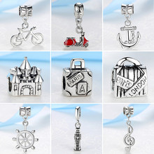 2019 Silver Beads Travel Eiffel Tower Big Ben Suitcase Pendant Charm Fit Pandora Women Diy Bracelets Bangles Necklace Jewelry(China)