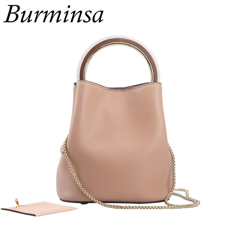 Burminsa Brand Elegant Genuine Leather Handbags Bucket Chain Shoulder Bags Designer Women Crossbody Bags Free Coin Purse 2 Sets
