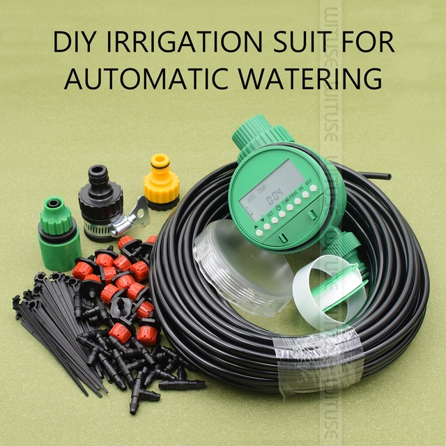 New Set Timer 5m/15m/25m DIY Drip Irrigation System Automatic Plant Self Watering Garden Hose Micro Drip Garden Watering System