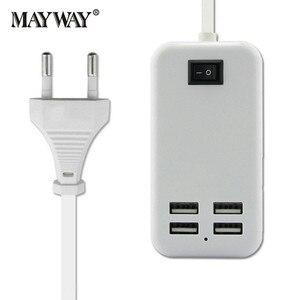 Универсальное быстрое зарядное устройство с 4 портами USB, адаптер питания для путешествий, удлинитель кабеля, переключатель для телефонов ...