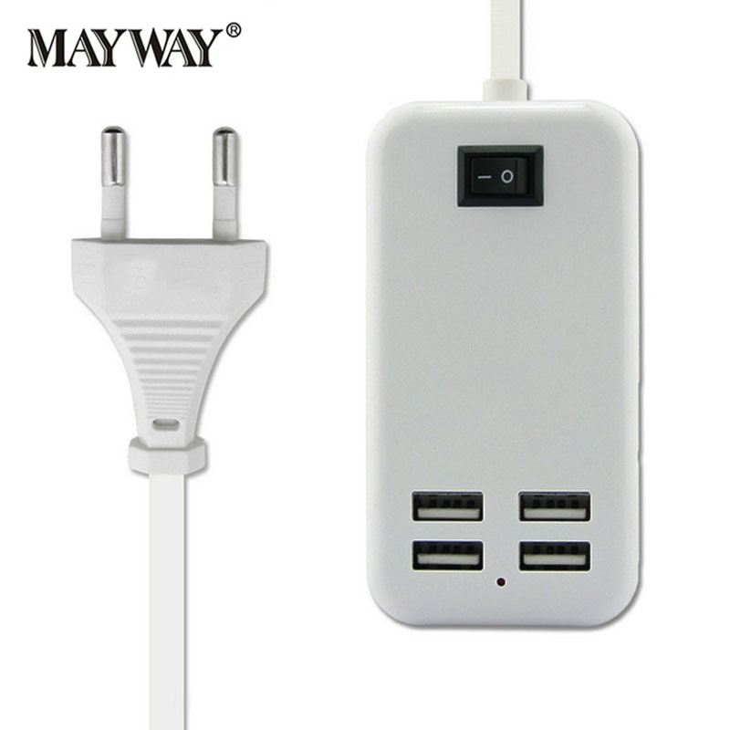 Universal Fast Charging 4 Ports USB Charger Power Travel Adapter Strip Extension Cable Switch For xiaomi iPhone Samsung <font><b>Phones</b></font>