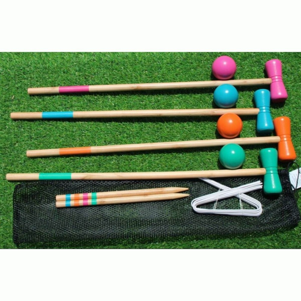 Outdoor Game Sport Gate Ball Croquet Croguet 1 Set for 4 Players title=