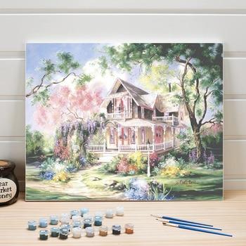 Peinture à numéros, maisonnette en été