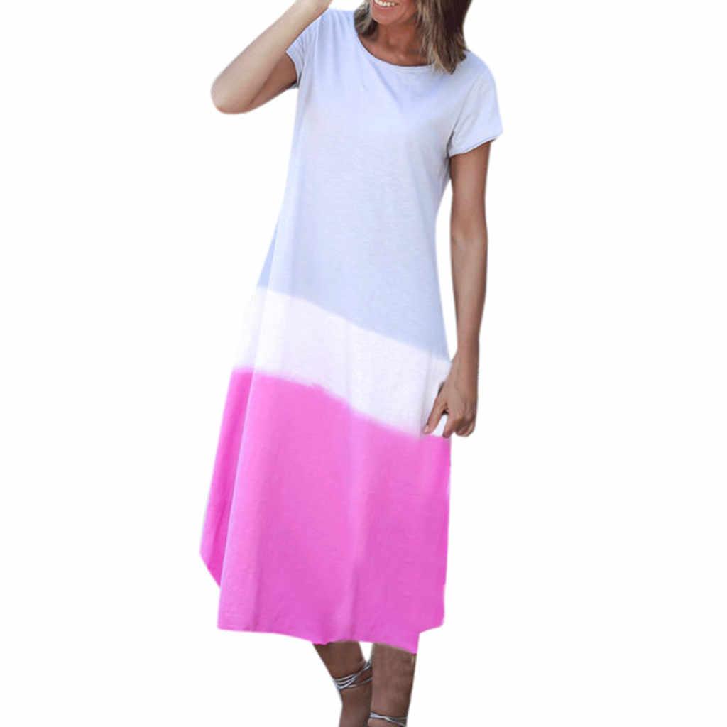 Женское летнее платье с коротким рукавом и круглым вырезом легкое пляжное
