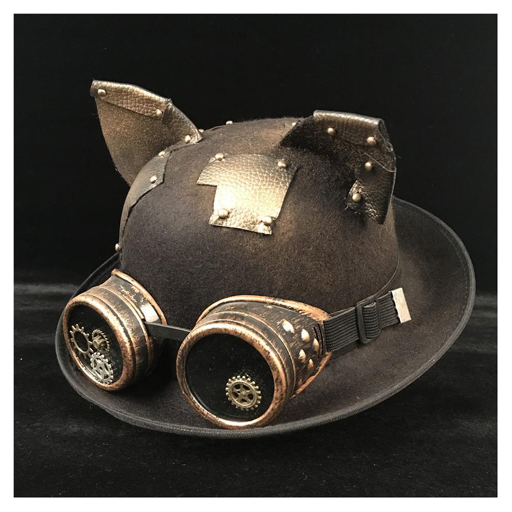 f768672814e Detail Feedback Questions about Retro Lolita Women Men Steampunk Bowler Hat  Patch Gear Glasses Topper Top Hats Fedora Headwear Cosplay Billycock Groom  Hat ...