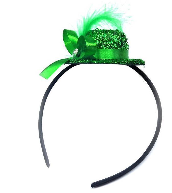 New Adult Women/'s Mini Glitter Top Hat /& Feather Fancy Dress Burlesque 5 Colours