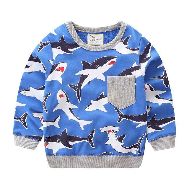 Springen meter Merk 2018 Lange Mouwen Herfst Lente Winter Sweater Voor baby kids meisjes Jongens Cartoon Shark kleding kleding