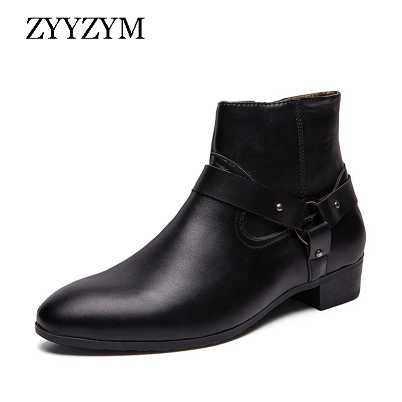 ZYYZYM Men Boots Leather Spring Autumn Black Ankle Brithsh Chelsea for Plus Size EUR 39-47 Zapatos De Hombre