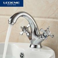 LEDEME Basin Faucet Ship Helmsman design Dual Holder Brass Bathroom Faucet Vessel Tap Chrome Modern Waterfall Faucets L1011