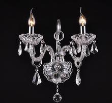 Luxury top K9 crystals transparent clear /cognic Crystal Wall Lamp Candle Led E14 Bulbs double/three head beside bed room light