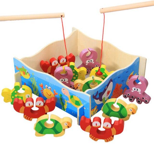 Aliexpress Com Beli Mainan Edukatif Bayi Ikan Kayu Mainan Memancing