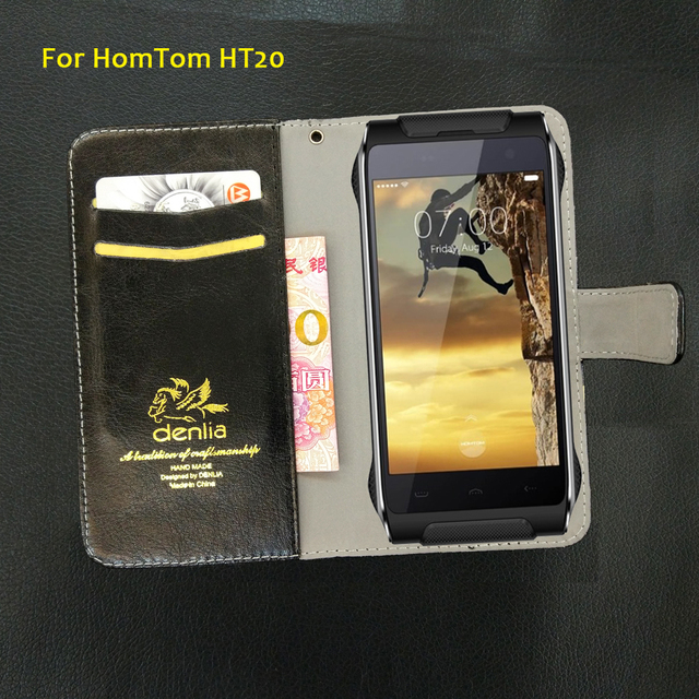 TOP New! HomTom HT20 Case 5 Colors Flip Luxury Leather Case Exclusive Phone Cover Credit Card Holder Wallet+Tracking
