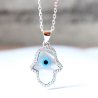 Turkey Evil Blue Eye Necklace Hamsa Hand Fatima 925 Sterling Silver Mother Of Pearl CZ Stone