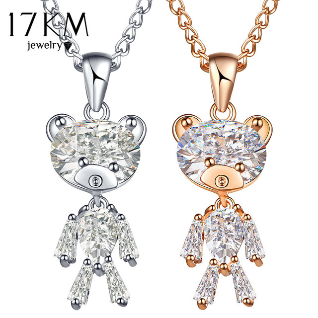 17KM Fashion Sweater Zircon Bear Pendant Necklace For Woman Crystal Gold Silver