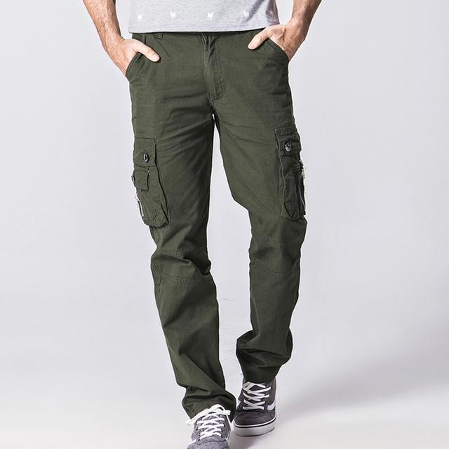 Más el tamaño 28-38 Pantalones Multibolsillos pantalones Causual hombres Otoño Transpirable bragas Largas de Alta calidad 100% algodón sólidos Pantalones de Carga