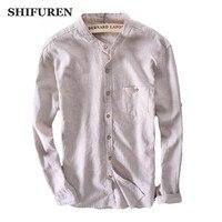 SHIFUREN New Spring Men Striped Cotton Linen Shirts Long sleeve Mandarin Collar Single Breasted Breathable Male Dress Shirts