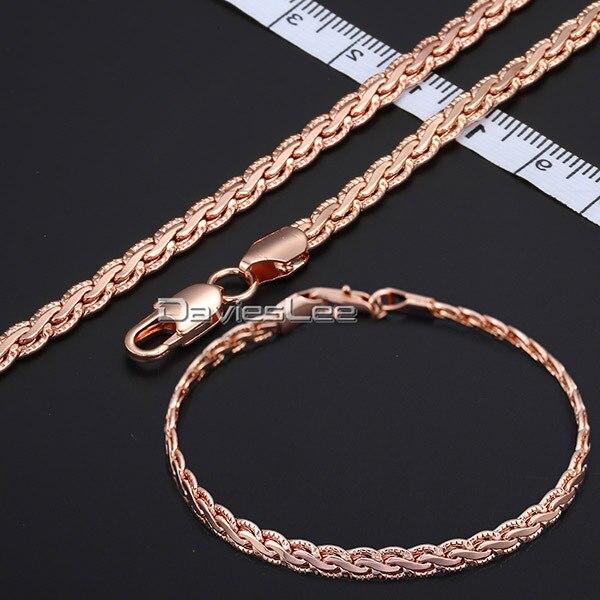 Davieslee 5 MM Large Chaîne Hommes Femmes Martelé Plat Blé chaîne Jaune Rose Gold Filled Collier Bracelet (ENSEMBLE) DLGS223