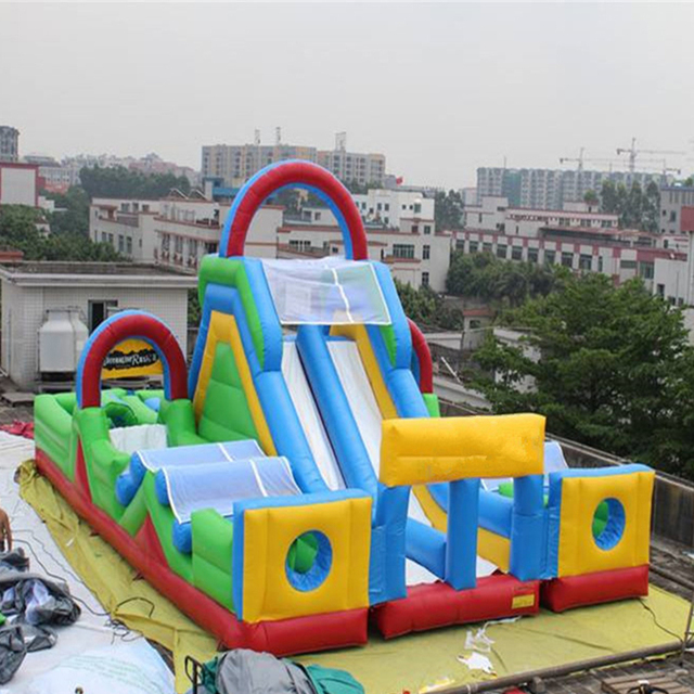 Design giant fun city china inflatable slide in inflatable bouncer big inflatable slide obstacle course combo for children