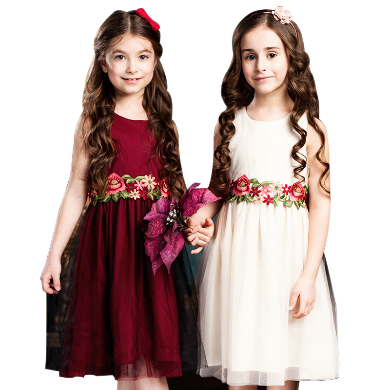 Childdkivy   Flower     Girls     Dress   Summer 2018   Girl   Princesse   Dress   Floral Embroidery Kids   Dresses   For   Girls   Children Clothes 3-10Y
