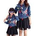 Mariposa impreso diseñador de moda denim capa de la chaqueta a juego de la familia de madre e hija brand clothing plus tamaño mamá niños prendas de vestir exteriores