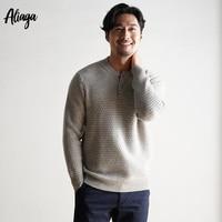 Мужские кашемировые свитера зима осень o образным вырезом кнопки с длинным рукавом 100% из чистого кашемира ребристые трикотажные пуловеры м