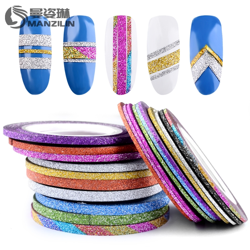 MANZILIN 10 Rolls Glitter Nail Art Striping Tape Line Sticker Tips Decoration 1MM/2MM/3MM Self-Adhesive 3d Decals Manicure Tools 500pcs 37colors hot metallic yarn line rolls striping tape adhesive 3d nail art beauty sticker decoration wholesale