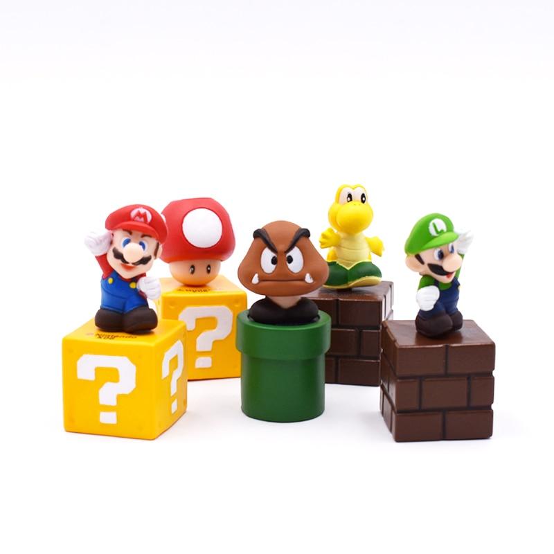 Super Mario Bros 5pcs/set 5CM Mini Figures Bundle Blocks Mario Goomba Luigi Koopa Troopa Mushroom PVC Toys Doll