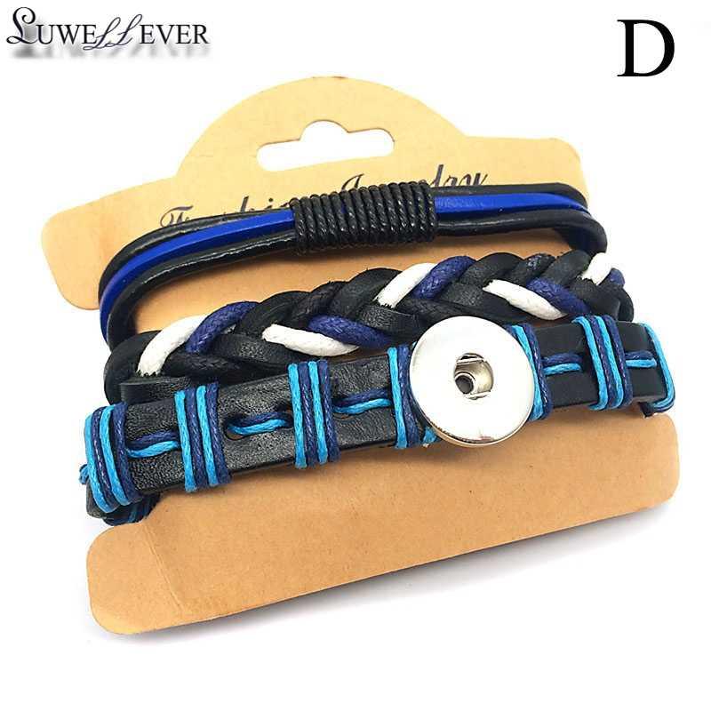 Hot prawdziwe prawdziwej skóry 229 ręcznie splot bransoletka 18mm przystawki przycisk bransoletka zestaw wymienne Charm biżuteria dla kobiet prezent dla mężczyzny