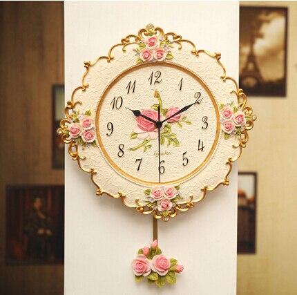 2019 European Rose Home Swing Clock Simple Creative Beautiful Wall Clock Modern Design Living Room Decoration Quartz Clock
