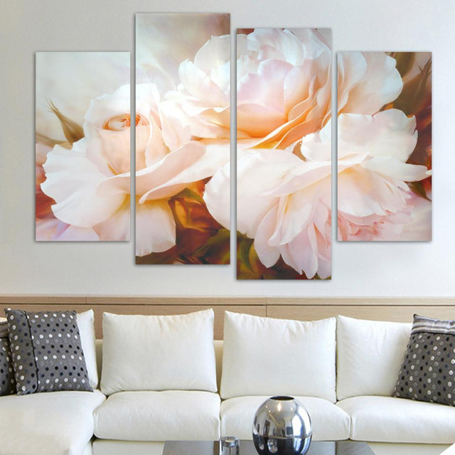 Canvas hd print painting modular pictures 4 panel pale pink flowers canvas hd print painting modular pictures 4 panel pale pink flowers framework wall art posters modern mightylinksfo
