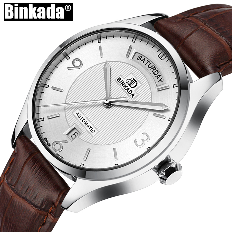 Top Brand Watch Mens Sport Casual Watches Simple Luxury BINKADA Men Mechanical Watches High Quality Automatic Business Watches new business watches men top quality automatic men watch factory shop free shipping wrg8053m4t2