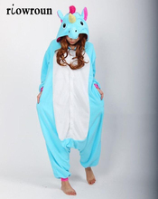 Множеств onesie фланелевые onesies единорог хэллоуин косплей взрослых животных пижамы оптовая