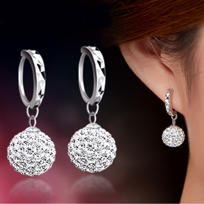 High Quality Luxury Super Flash Full Bling Crystal Shamballa Princess Ball Silver Women Stud Earrings Party Jewelry