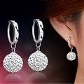 Alta Qualidade de Luxo Super Flash Completa Bling Cristal Shamballa Princesa Bola de Prata Esterlina 925 Mulheres Brincos Partido Jóias