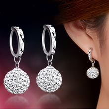 High Quality Luxury Super Flash Full Bling Crystal Shamballa Princess Ball Silver Women Stud Earrings Party
