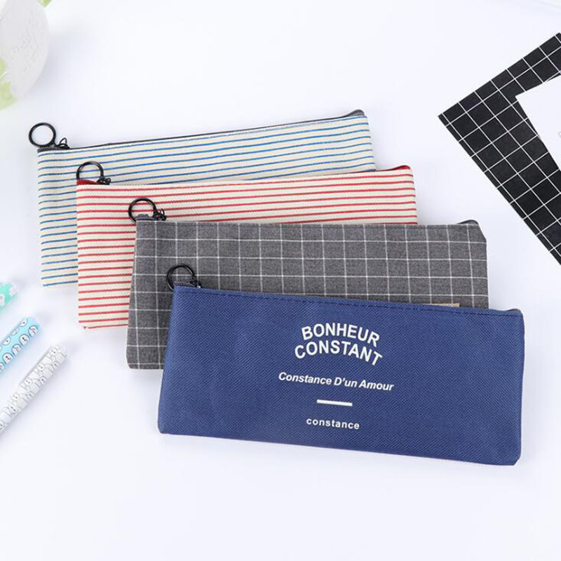Student Stationery Canvas Pencil Bag Retro School Pencil Bag Office School Supplies Bag Handle Pencil Writing Tool Gift