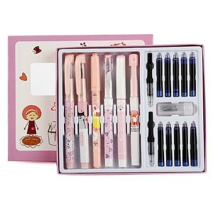 Image 2 - Çocuk öğrenci doğru duruş karikatür dolma kalem seti dahil silme kalem mürekkebi kartuşları dönüştürücüler en iyi noel hediyesi