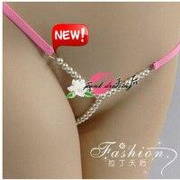 New sexy cadeia g calcinha g cordas thong underwear do amante com beading, FURADINHA G-STRING