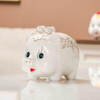 Golden Pig Swing Piece, Ceramic Deposit Tank,money Storage Tank money box piggy bank Gift for children Animal Ceramic Crafts
